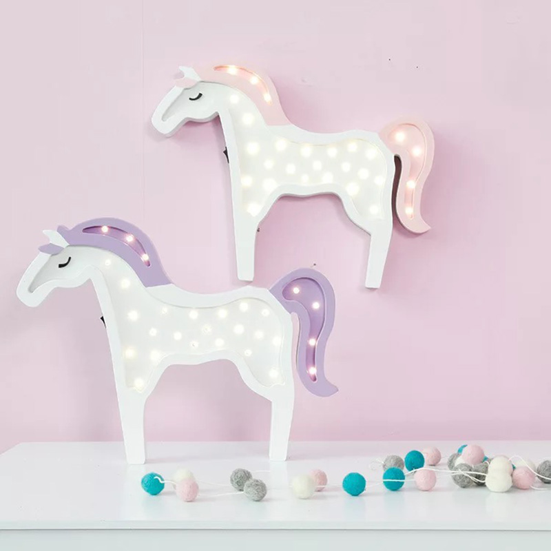 Meaningsfull Wooden Cute Unicorn Led Night Light Pink/Purple Battery Table Lamps For Kids Children Gift Party Living Room Decor