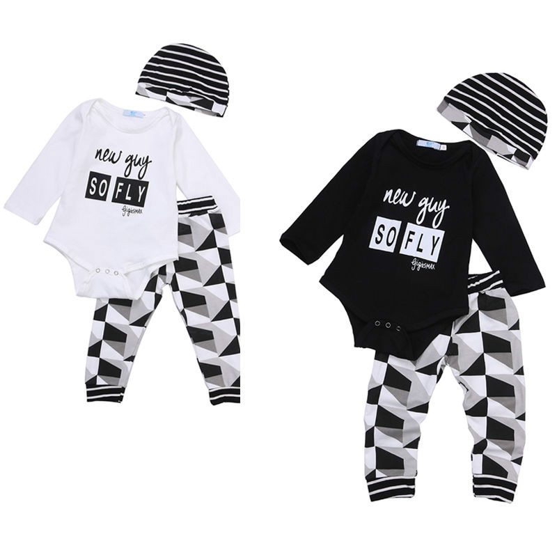 3pcs Baby Boy Girl Kids Newborn Infant Bodysuit Pant Hat Outfits Striped Baby Clothing Set Geometry Baby Boys Clothes 0-18M 3pcs set cute newborn baby girl clothes 2017 worth the wait baby bodysuit romper ruffles tutu skirted shorts headband outfits