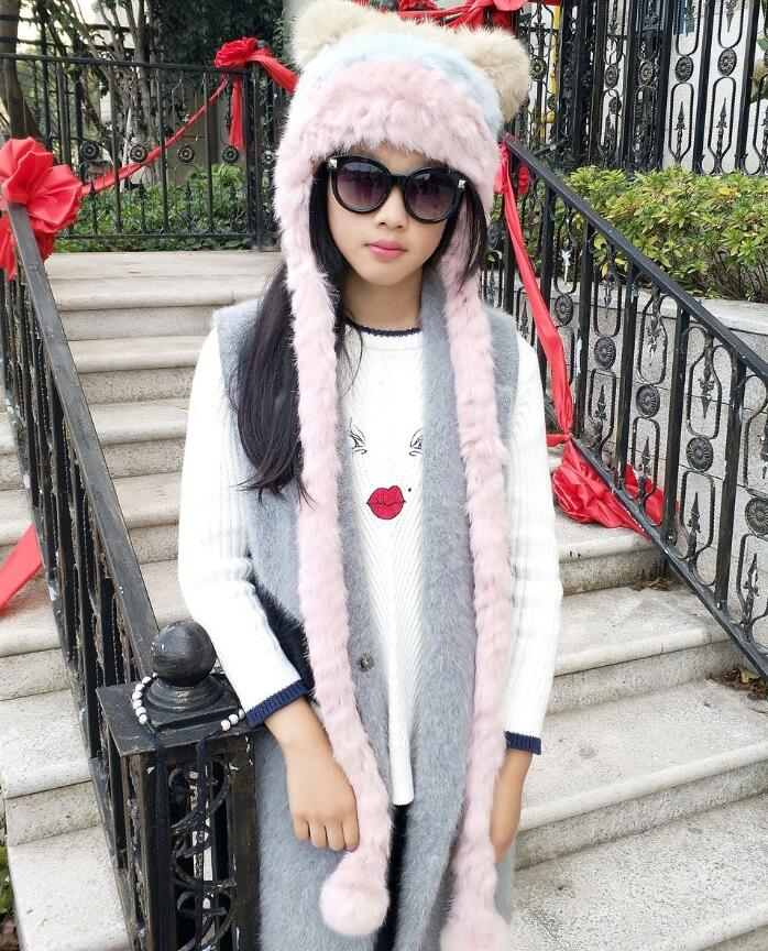Women's natural rabbit fur knitted Hats girls contrast color winter thicken warm fashion cap long scarf   Skullies   &   Beanies   TB382