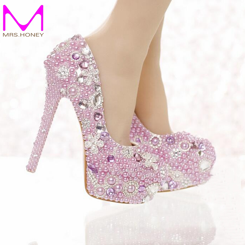 Beautiful Lavender Purple Pearl Bridal Shoes Special Event Party ...