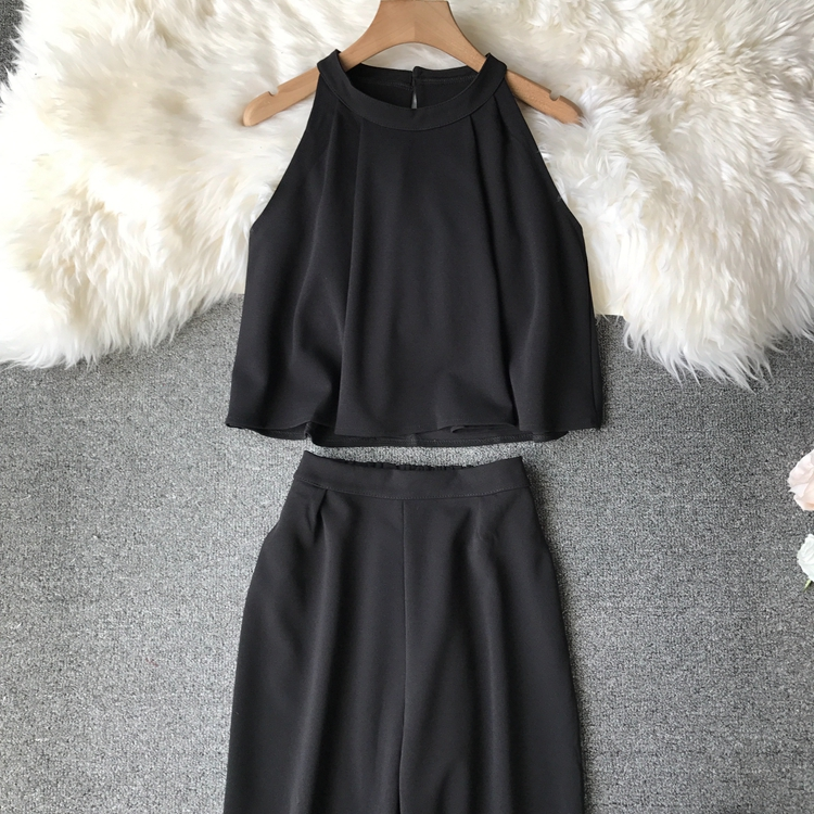 HTB112wIVxYaK1RjSZFnq6y80pXaE - two piece set women fashion sexy short top and long pants casual sleeveless Elastic high waist female summer festival clothing
