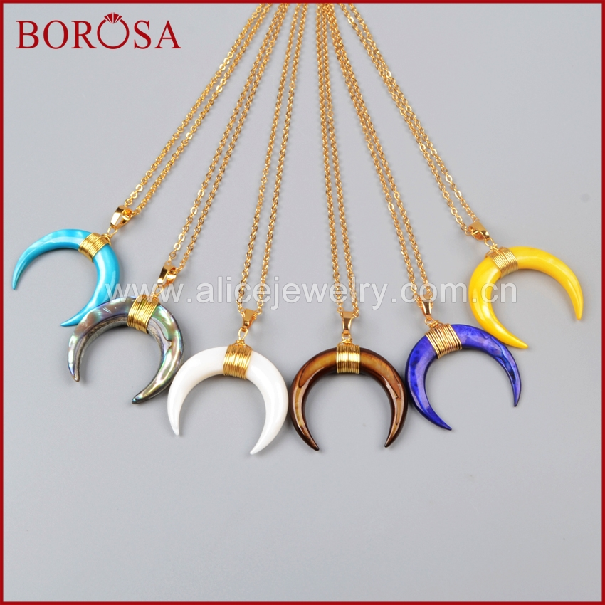 BOROSA Wire Wrap Double Horn Gold Necklece,Wholesale Natural Shell Rainbow Shell Pendant Necklace for Women G1122-N