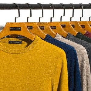 Image 1 - Мужской шерстяной Однотонный свитер с круглым вырезом, облегающий вязаный пуловер, Новинка осени 2019, 8 цветов, модная повседневная брендовая одежда