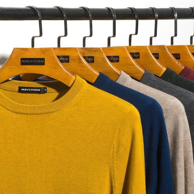 Мужской шерстяной Однотонный свитер с круглым вырезом, облегающий вязаный пуловер, Новинка осени 2019, 8 цветов, модная повседневная брендовая одежда