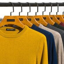 Wełniane dla mężczyzn solidny kolor sweter O Neck Slim Fit dziergany sweter męski 2019 jesień nowy 8 kolorów moda w stylu Casual markowa odzież