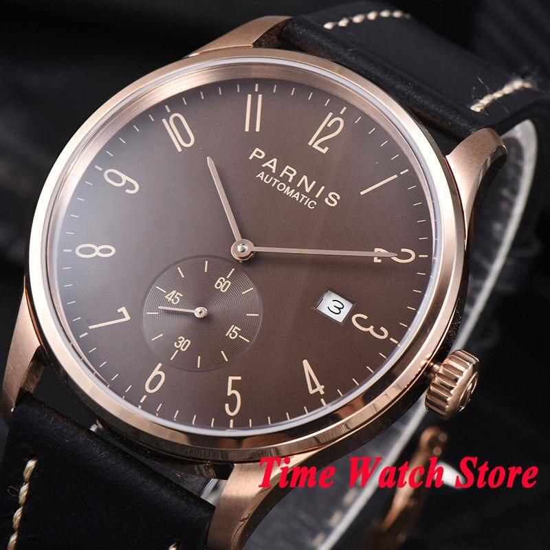 42mm Parnis men's watch Rose golden case brown dial Arabic numerals DATE 5ATM ST1731 Automatic wrist watch men 957 цена и фото