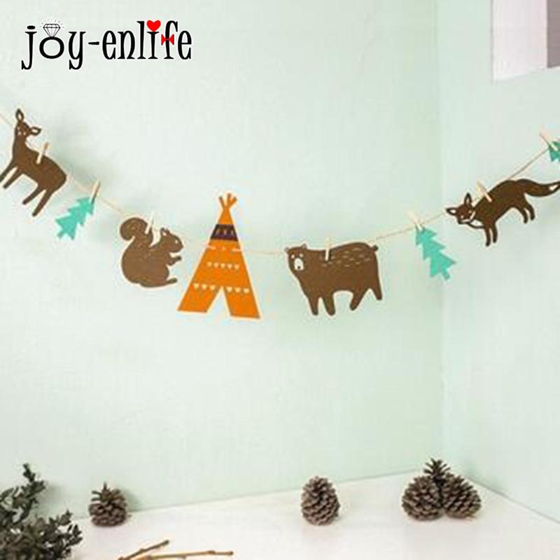 JOY-ENLIFE 1set Felt Animal Garland Bunting Banner For Child Room Decoration Baby Shower Birthday Party Childrens Day Decor