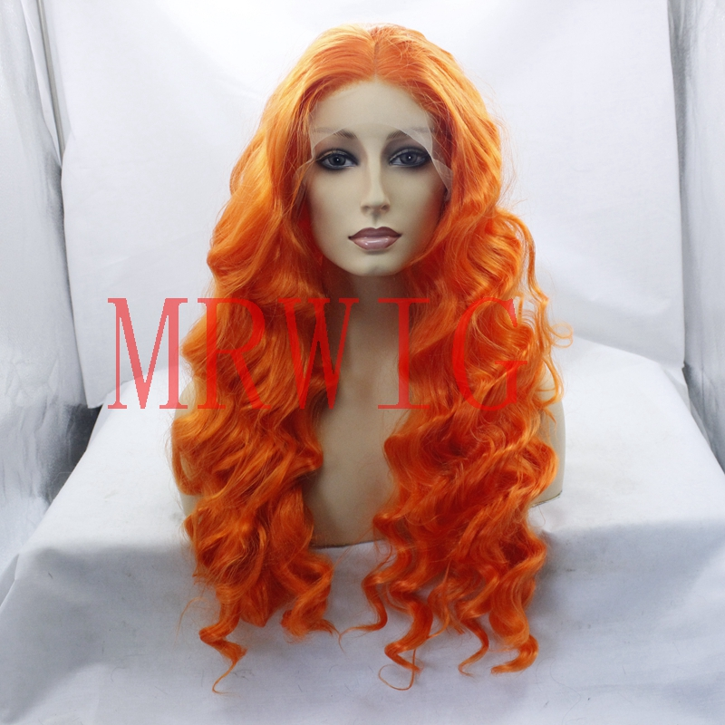 MRWIG Orange Hair Color Long Curly Synthetic Glueless Front Wig Middle Part Cosplay Heat Resistant Fiber 26inch150% Density
