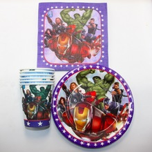Avenger theme 10pcs cups+10pcs napkin+10pcs plate for kids birthday party decoration, boy event party supplies favor items
