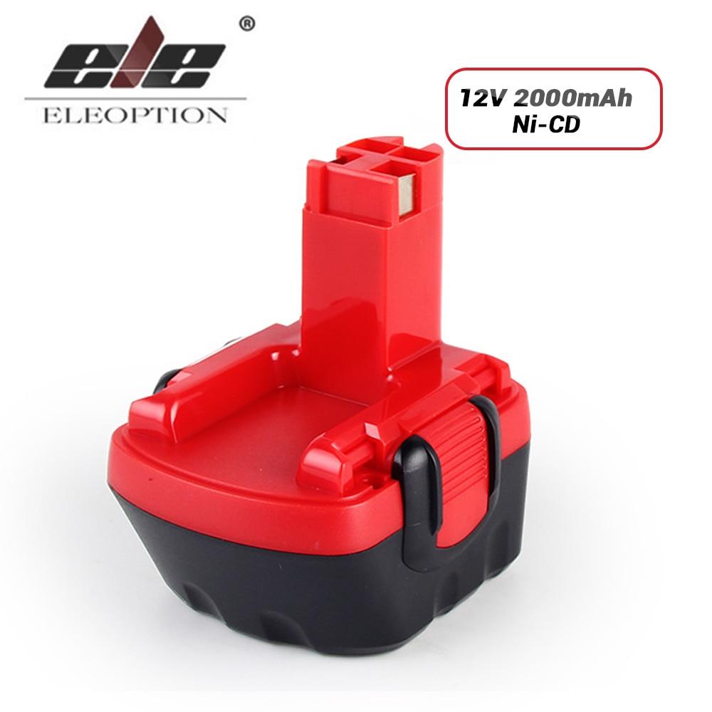 ELE ELEOPTION High Quality 12V 2.0Ah 2000mAh Ni-CD Battery for Bosch BAT043 BAT046 BAT049 PSB 12 VE-2 PSR 12 VE-2 high quality eleoption 2 pcs 12v 2 0ah battery for dewalt dc9071 dw9071 dw9072 dw953 dw965 dw972 cordless free shipping
