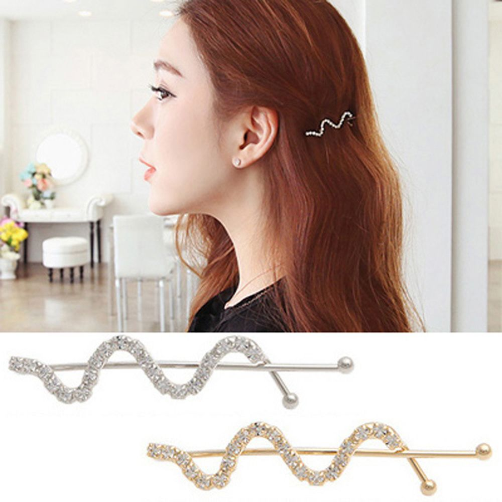 New Hot Women Barrettes Silver Gold Color Hairpin Wave Design Hair Clips Alloy Crystal Hair Grips Fashion Hair Clip Accessories