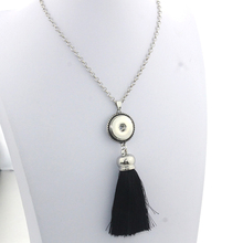 6 Colors Women 18mm Metal Snap Button Female Vintage Tassel Necklace Silver Jewelry Sweater Chain One Direction 9130(China)