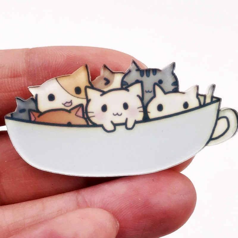 1Pcs Harajuku Lucu Hewan Kucing Acrylic Bros Pakaian Lencana Ransel Anak-anak Ikon Bros Aksesoris Wanita