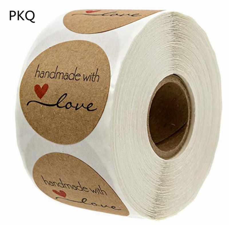 1 Inch Round Kraft Wedding Party Packaging Decor Stickers Student Stickers Handmade with Love Stickers 500 Labels Per Roll(China)