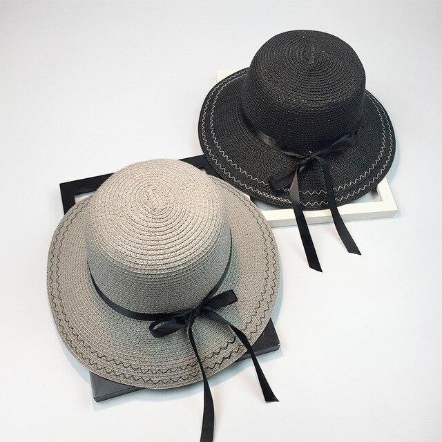 Nuevo Verano del bowknot de Paja de ala ancha Floppy Sombreros Chica  Soleado sombrero de Las d2ddb4a80dc