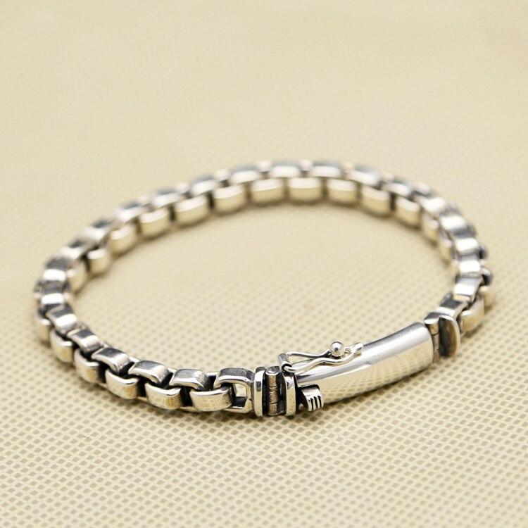 NOUVEAU! fabriqués à la main 925 Argent Lien Chaîne Bracelet Vintage Bracelet En Argent Sterling Réel Pur Argent Homme Bracelet