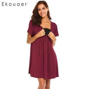 Женская ночная рубашка Ekouaer, плиссированная туника с коротким рукавом и треугольным вырезом для сна