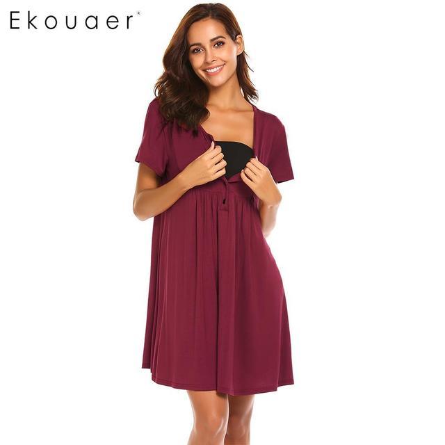 Ekouaer camisón ropa de dormir de las mujeres con cuello en V de manga corta plisado dormir vestido camisas de camisones mujer Homewear