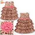 2015 nueva moda de verano vestido de gasa para niña vestidos con estampado de leopardo para niñas ropa infantil