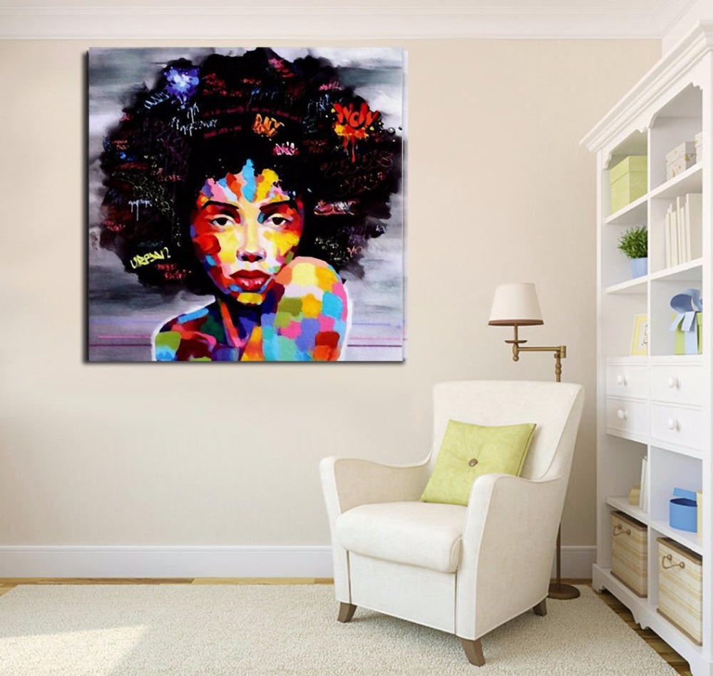 Portrait Wall Art Abstract Nude American African Canvas Painting Living Room Poster -8676