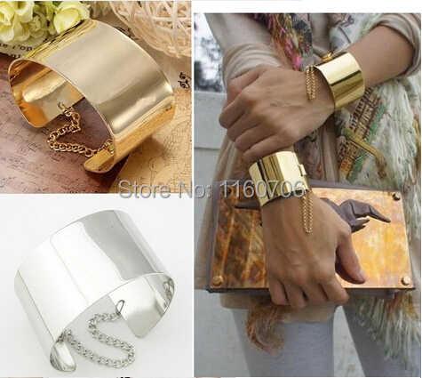 KMVEXO 2018 darmowa wysyłka moda metalowe złoty Tone przykuty szeroka bransoletka bransoletka mężczyzn biżuteria mankiet złoty/posrebrzane