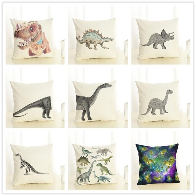 Dinosauro Stile Lino Pillow Case Animale Cuscino Vela Sirena per il Divano di Ca