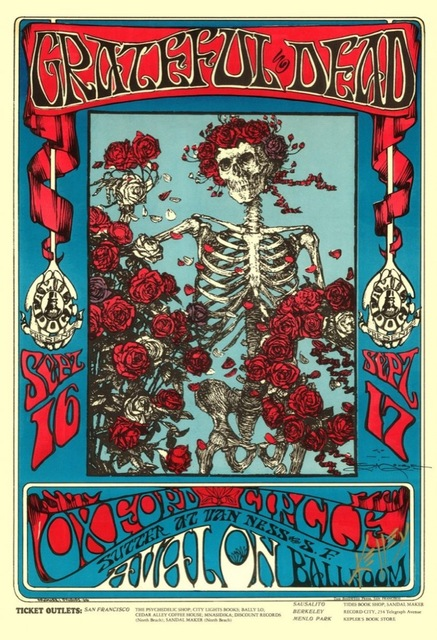The Grateful Dead Concert Skull Rock Music Band Psychedelic Vintage ...
