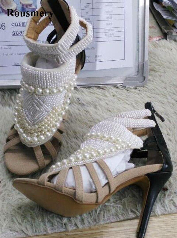 High Quality Women Fashion Open Toe Pearl Design High Heel Sandals Rhinestone Ankle Wrap Sandals Dress Shoes Real Photos rhinestone design toe post sandals