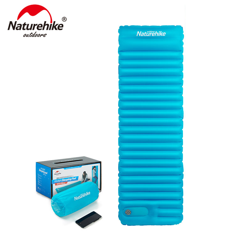 Naturehike Outdoor Push Inflatable Camping Mat Tent Outdoor Envelope Waterproof Sleeping Pad Picnic Folding Mattress NH18Q001-D