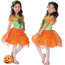 Kid children costumes adorable cute girls costume for halloween party pumpkin dress cosplay Masquerade clothing