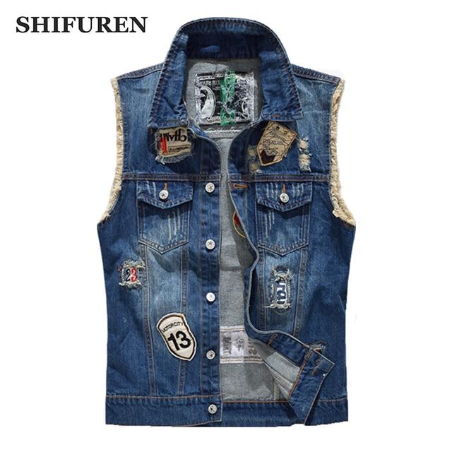 29d685e4c1a52 SHIFUREN Ripped Denim Vest Men Fashion Patch Designs Cowboy Frayed Jeans  Sleeveless Jackets Punk Rock Motorcycle