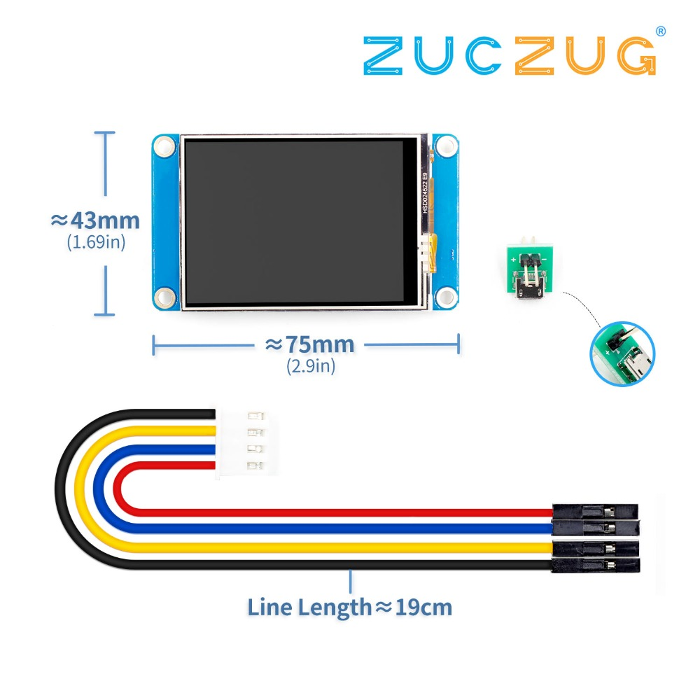 """English Nextion 2.4"""" TFT 320 x 240 Resistive Touch Screen USART UART HMI Serial LCD Module Display Raspberry Pi 2 A+-in Integrated Circuits from Electronic Components & Supplies"""