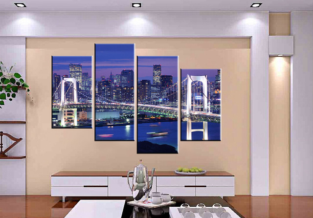 4 panel modern painting home decorative art picture paint on canvas prints bright lights the night