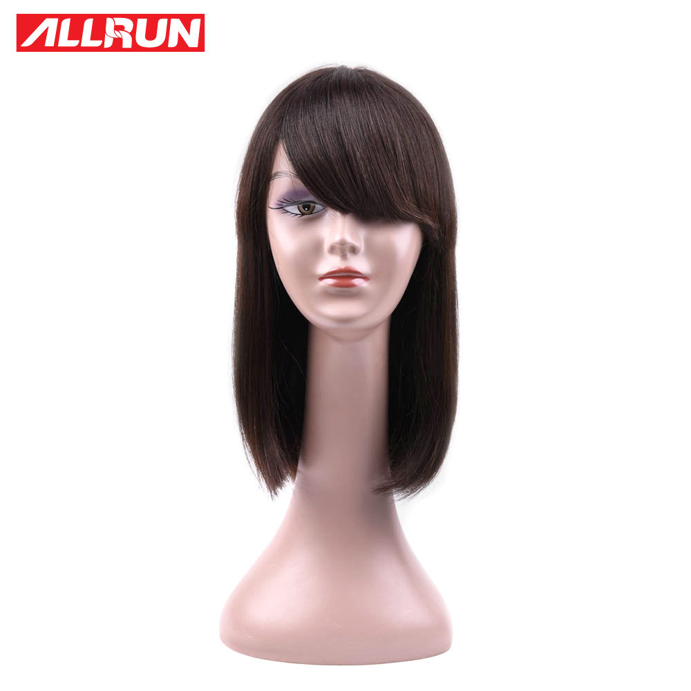 ALLRUN Brazilian Human Hair Wigs Straight Hair Side Part Hair Wigs Non Remy Hair Front Wigs