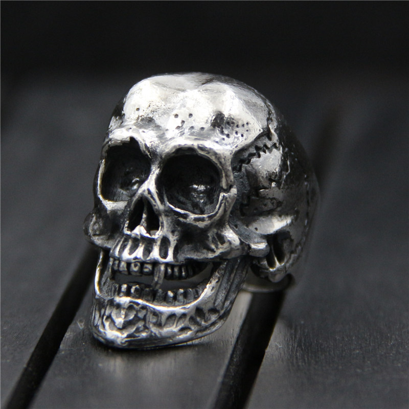 C&R 925 Sterling Silver Rings for Women men vintage skull rings casting big exaggerated Fine Jewelry Size 7-9 Adjustable