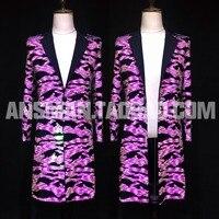 S 6XL! атмосферный бар, ночной клуб, мужские костюмы для выступлений, флуоресцентные розовые Яркие костюмы, Длинные костюмы пальто.