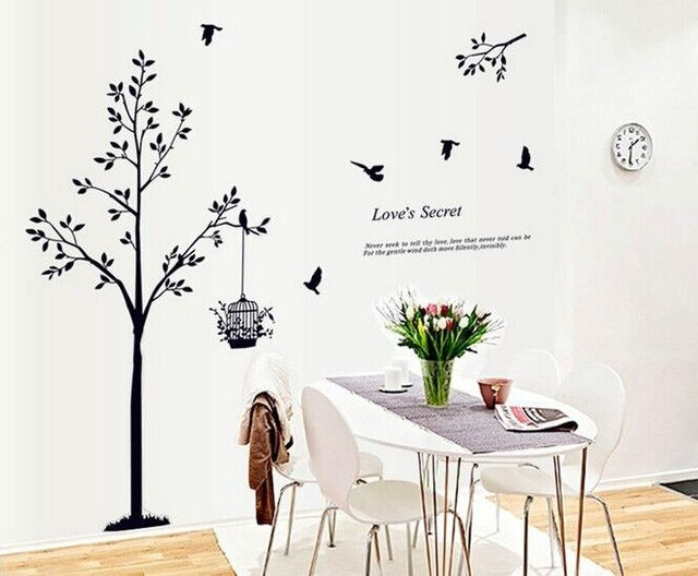 165*150cm(65*59inch) Black tree Bird Cage Vinyl Wall Decals For Living Room/Bedroom Wall Stickers Home Decoration Wallpapers 6