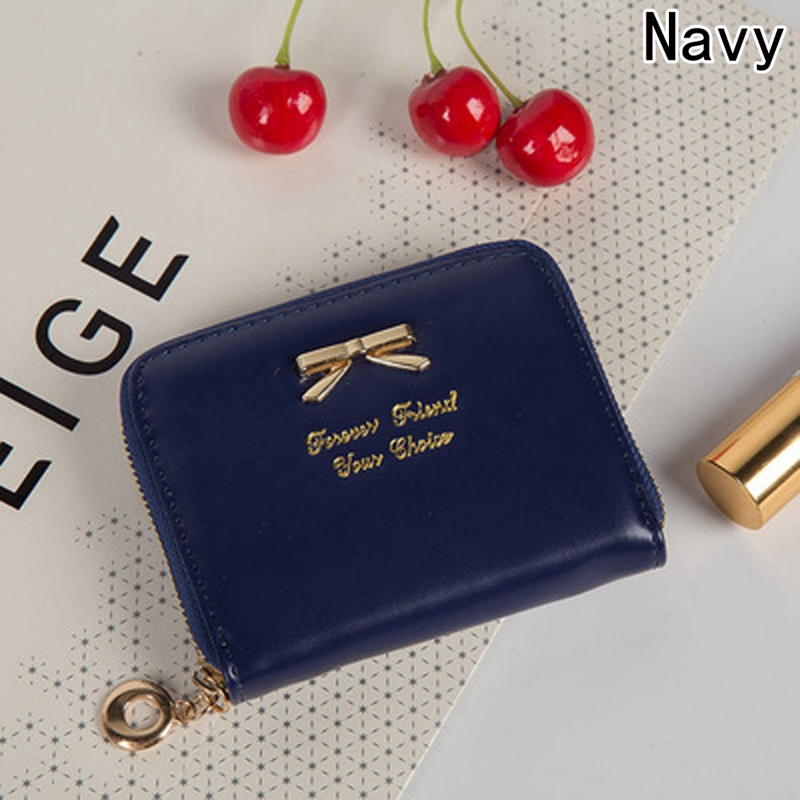 Short Pink Wallet Coin Card Girls Purses Women Leather Wallet Candy Colors Bow Design Holders Clip Mini Money Bag
