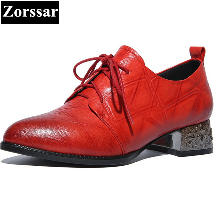Genuine leather Flat Oxford Shoes pointed toe Woman Flats Lace-up 2017 Fashion British style Brogue Oxford women shoes moccasins qmn women genuine leather flats women square toe brogue shoes woman typical british style real leather oxfords 34 40