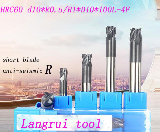 Free shipping 4pcs 10mm hrc60 d10r0.5/r1*d10*100l carbide 4 flutes corner radius end mill cnc spiral