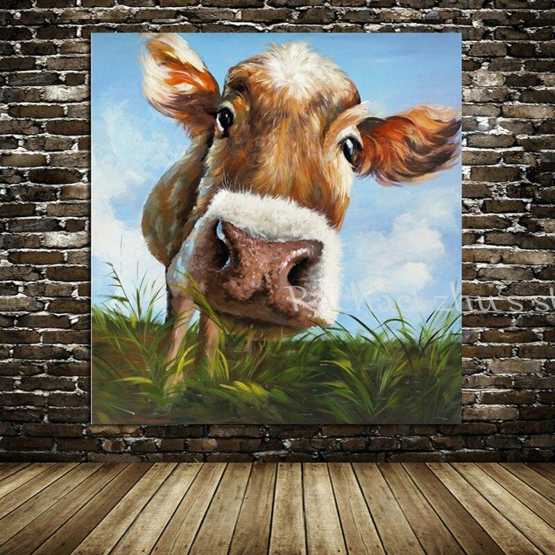 100% fait à la main moderne abstrait Animal Art image vache peinture à l'huile sur toile dessin animé vache mur photo Art salon décor à la maison