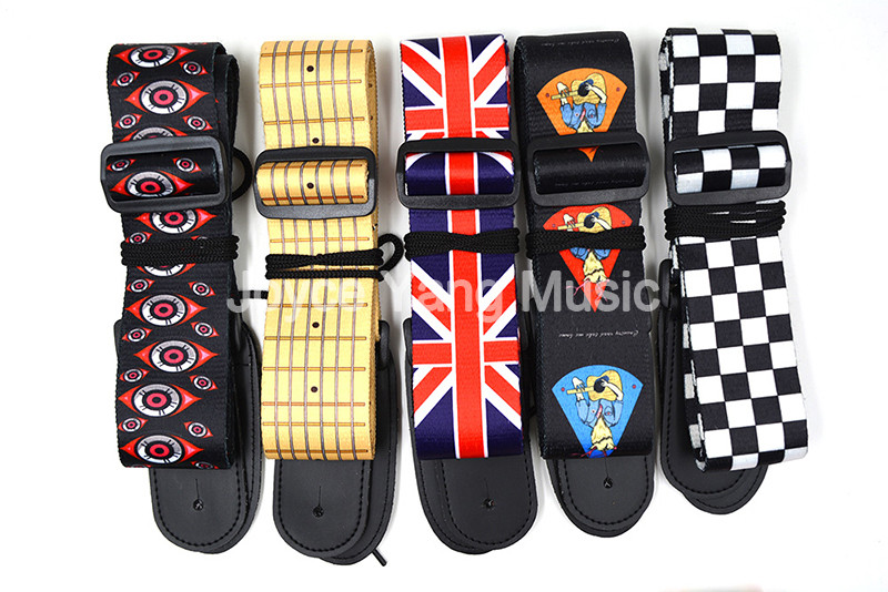 Niko Printed 10-Pattern Nylon Acoustic Electric Guitar Strap Leather Ends Rock/UK Flag/Guitar/Finger Board/Checker/Lucky Cat niko 50pcs chrome single coil pickup screws