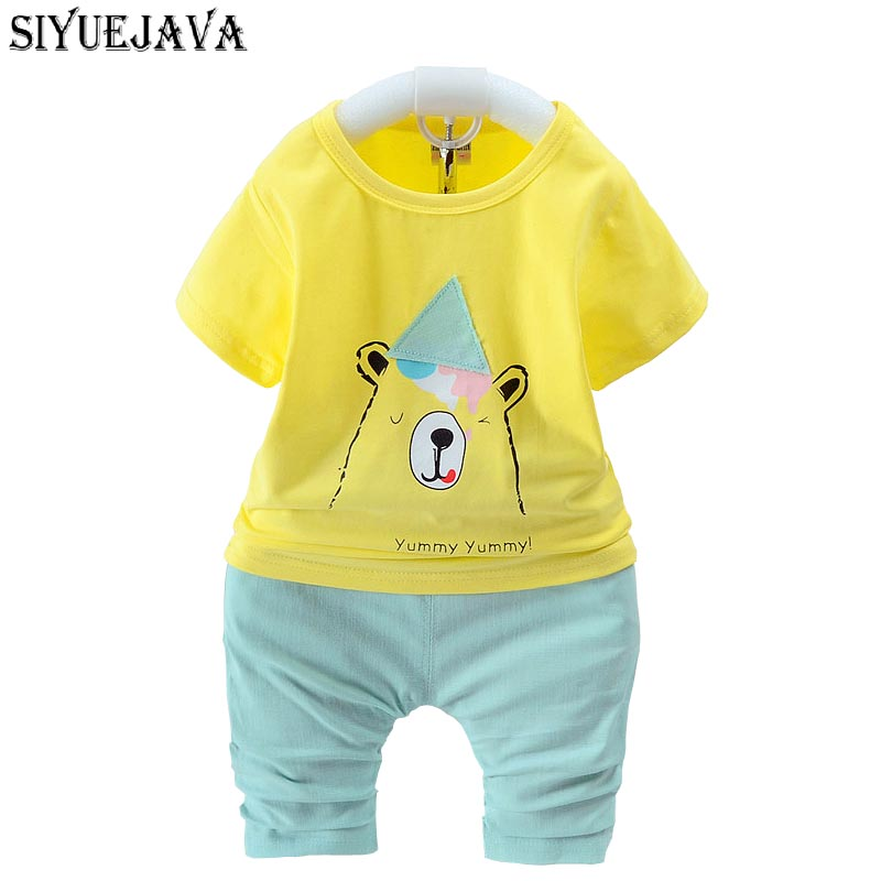 0-2Y Baby Boy Girl Clothing Set Summer Cotton Flying Bear Kids T-shirt+ Short 2PCS Baby Playsuit Outfit Set newborn baby product