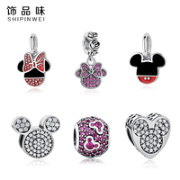 Authentic 925 Sterling Silver Charm Lovely Mickey Minnie Crystal Heart Charm Fit Pandora Bracelet Necklace Pendant