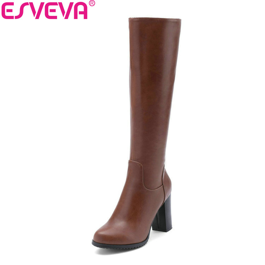 ESVEVA 2019 Women Knee-high Boots Square High Heels Zipper Round Toe PU Leather Autumn Spring Motorcycle Boots Shoes Size 34-43 esveva 2018 synthetic pu women boots square high heels ankle boots round toe spring autumn zippers boots women shoes size 34 39