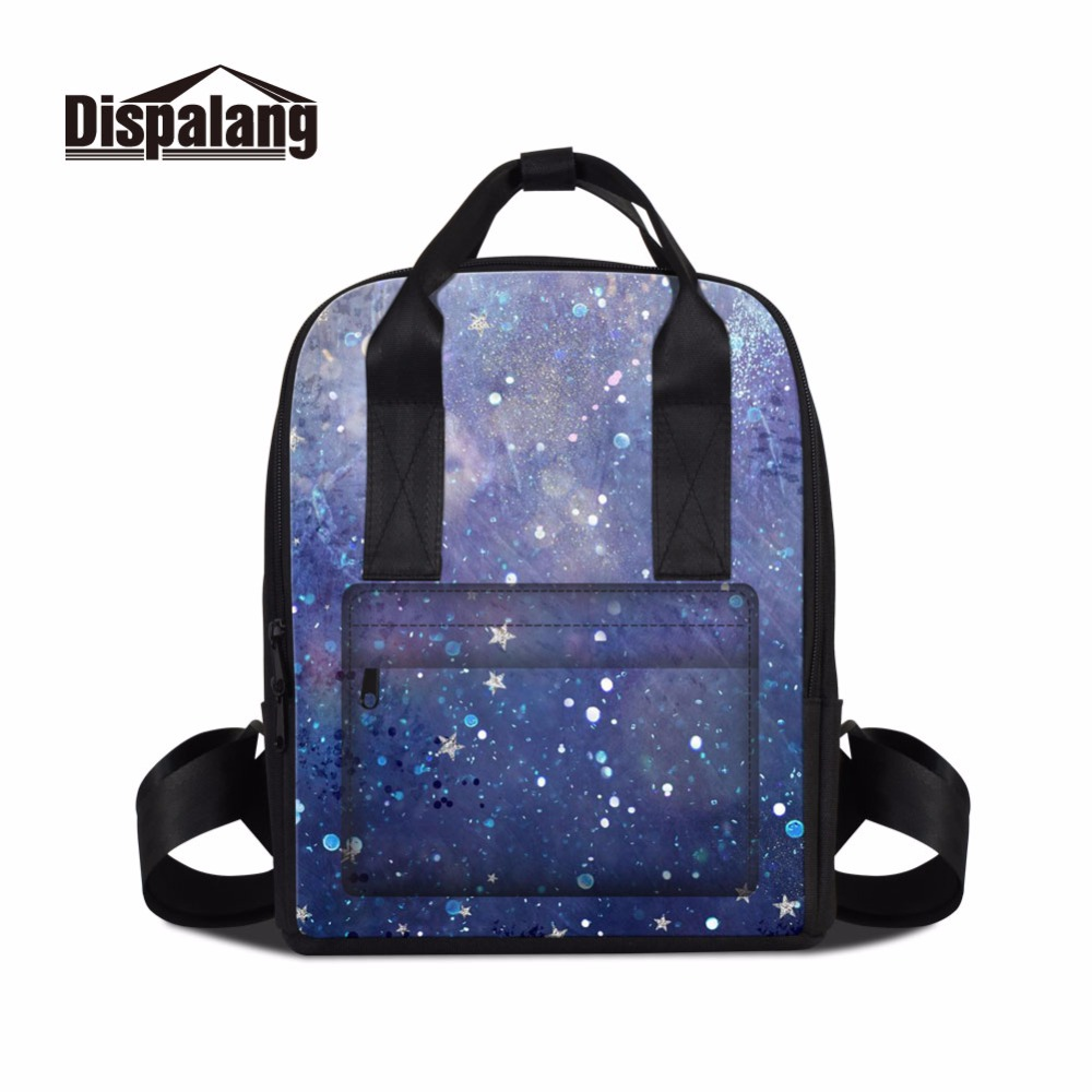 все цены на Dispalang new arrival girls square backpack lady travel double shoulder bag cosmos starry sky laptop bookbag for university girl онлайн