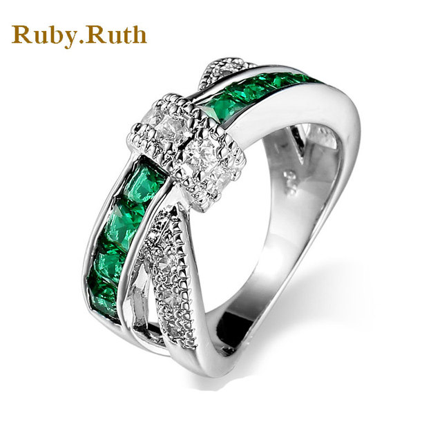 Green Cross Ring Fashion White silver Gold Jewelry Vintage Wedding ...