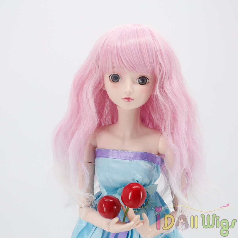 Toys & Hobbies Constructive Wigs Only Dolls Accessories Soft Wavy Pink White Ombre Doll Hair Wig For 1/3 1/4 1/6 Bjd/sd Dolls Heat Resistant Can Self-style