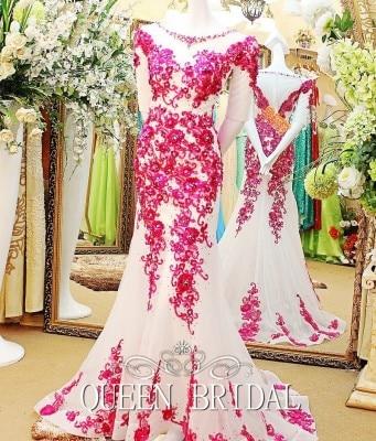 Индивидуальный заказ сексуальное длинное вечернее платье кружевное платье-Русалка с вечерние платье бусины, жемчужины одежда праздничная DF70 - Цвет: same as picture
