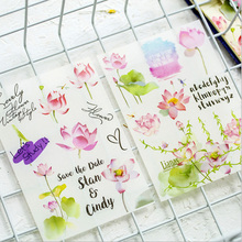 6 pcs/pack Cute Summer lotus decorative sticker Diary Album Label Sticker DIY Decoration Stationery Stickers Escolar